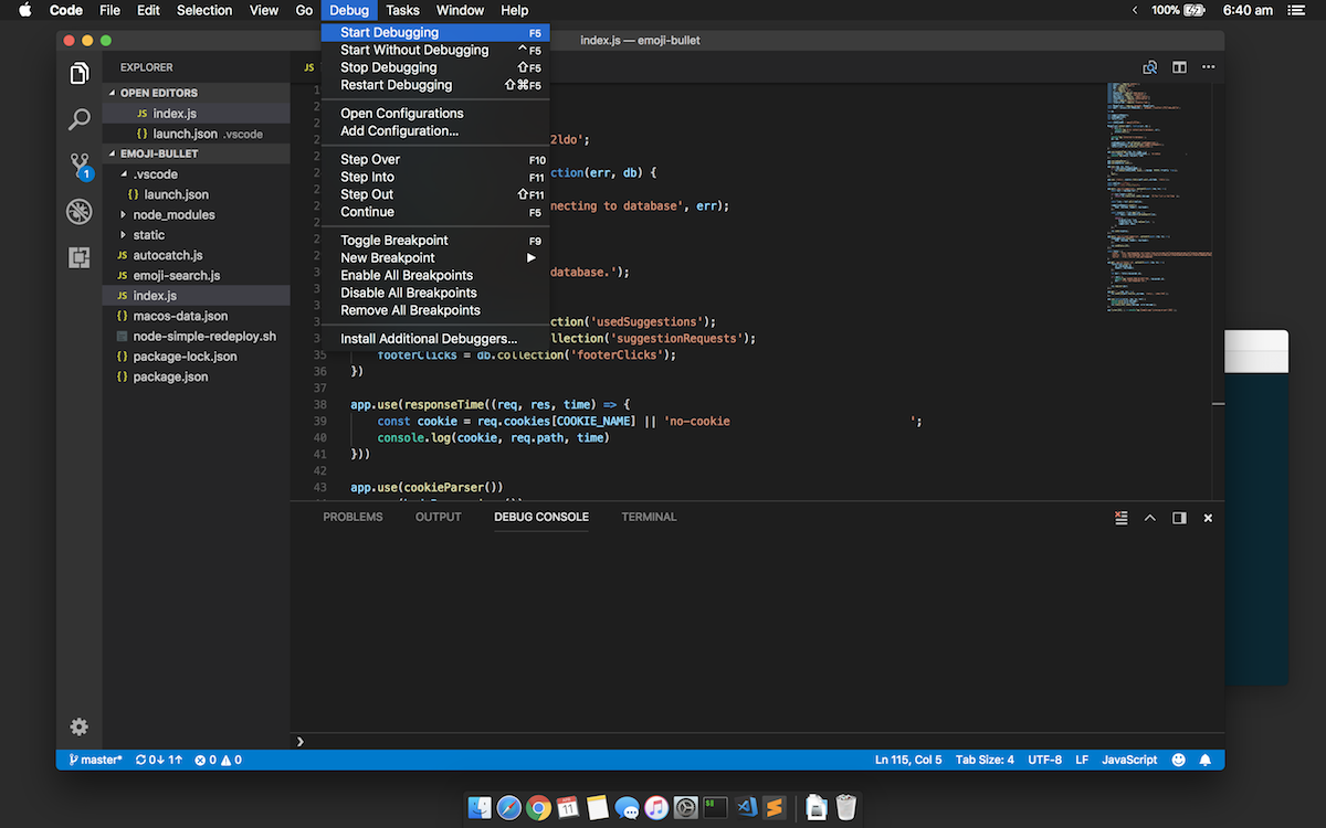 Start debugging with VS Code